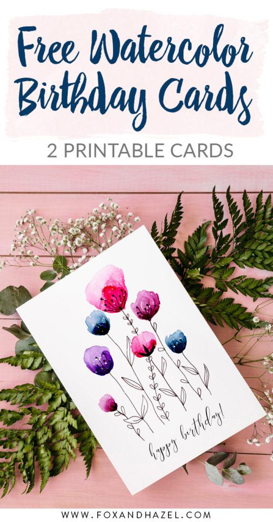 Free Printable Watercolor Birthday Cards Fox Hazel