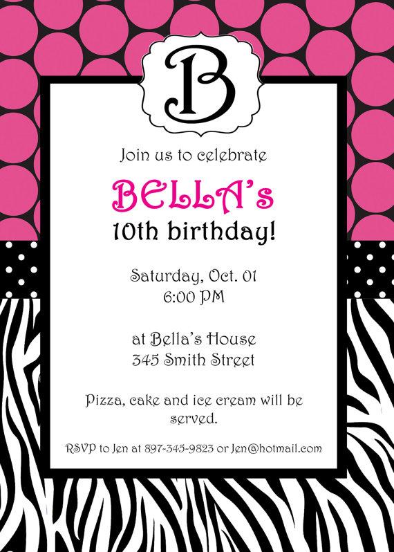 Free Printable Zebra Print Birthday Invitations DREVIO