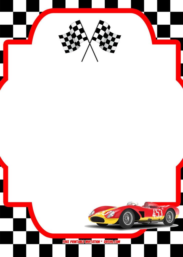 FREE Race Car Birthday Invitation Template Printable