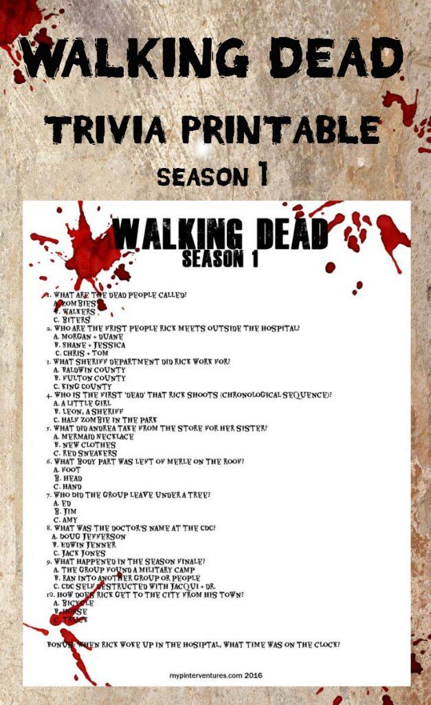 FREE Walking Dead Trivia Printable For Season 2 Fan Fun