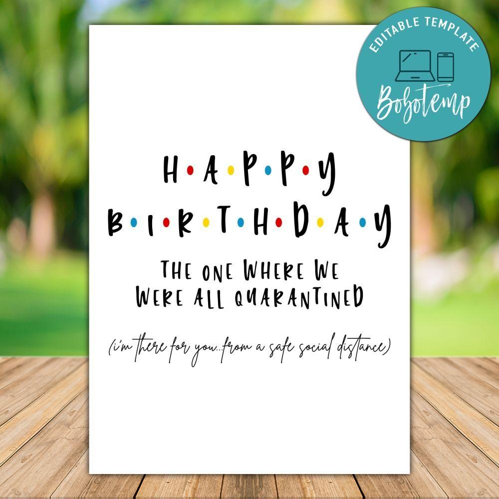 Friends Theme Happy Birthday Quarantine Card To Print