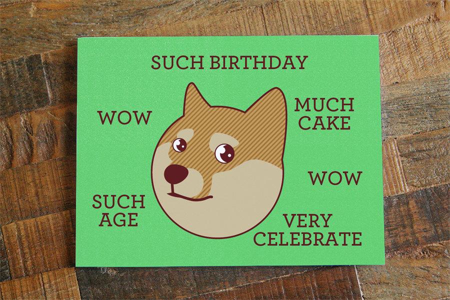 Funny Birthday Card Doge Such Birthday