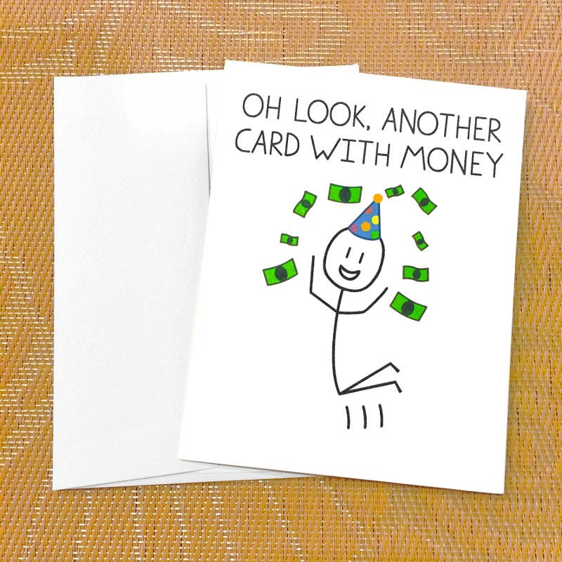Funny Birthday Card For Teen Funny Money Card Oh Look