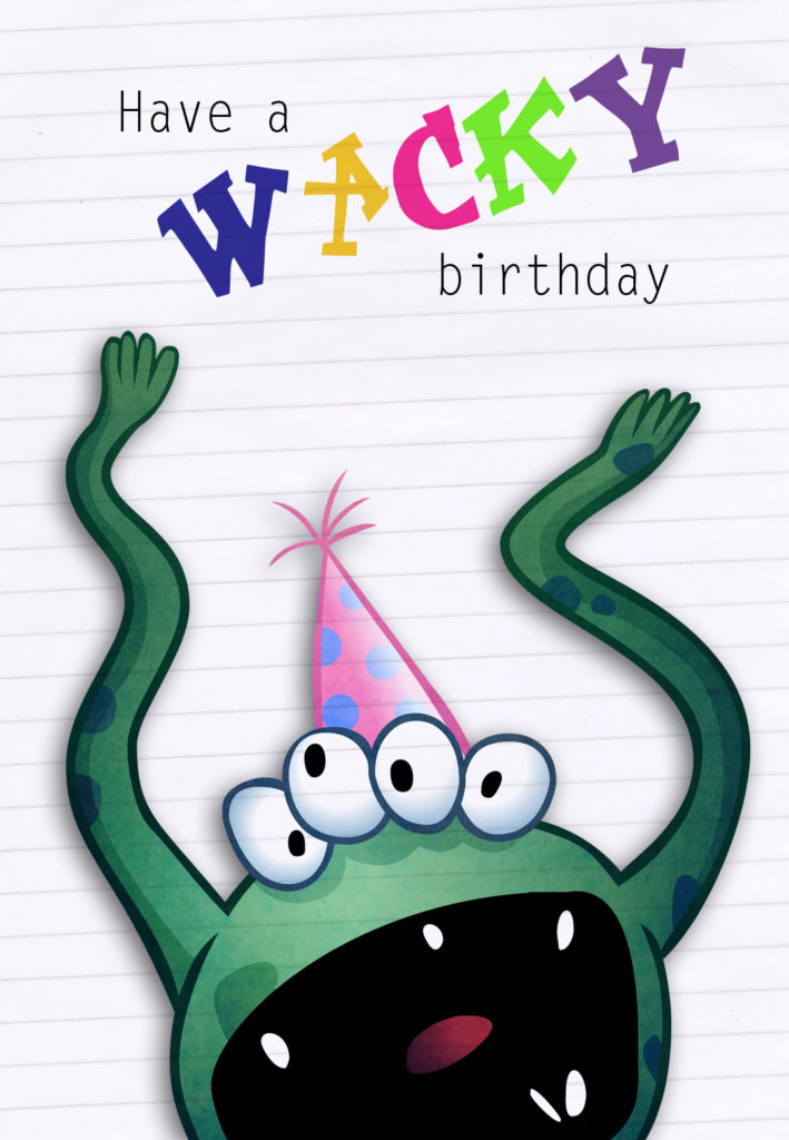 Funny Four Eyed Monster Birthday Card Greetings Island