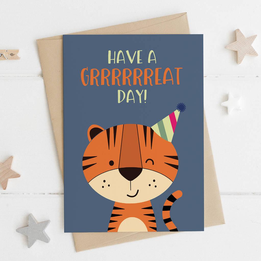 Funny Tiger Birthday Card By Wink Design