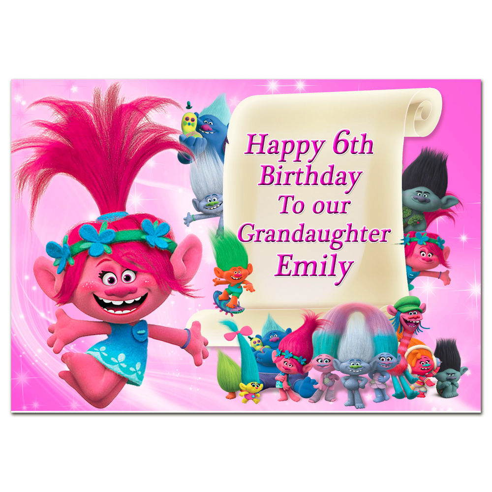 G384 Pink Large A5 Personalised Birthday Card Trolls Any