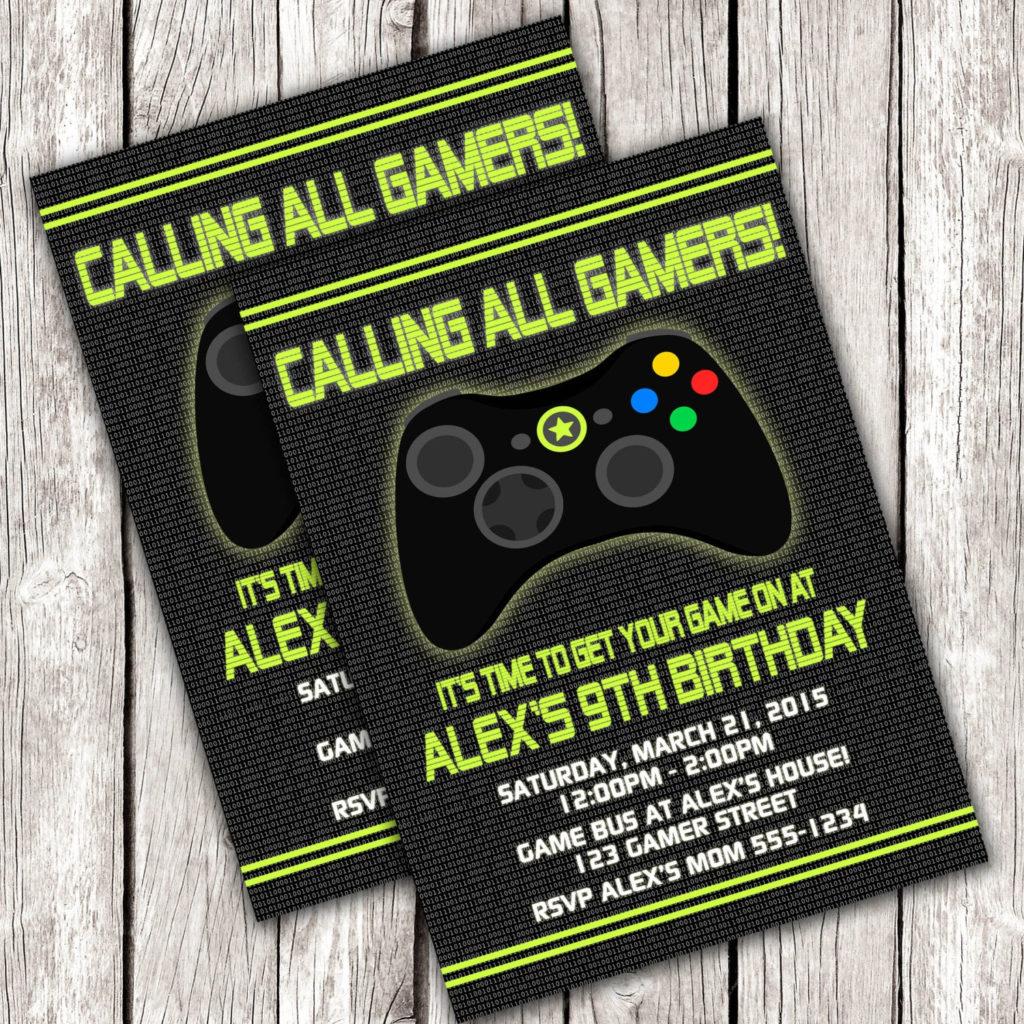 Gamer Invitation Video Game Birthday Party DIY Printable