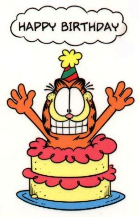 Garfield With Birthday Cake Google Search Happy