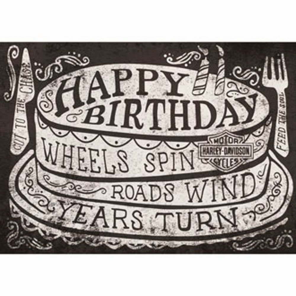 Genuine Harley Davidson Roll On Birthday Card Happy