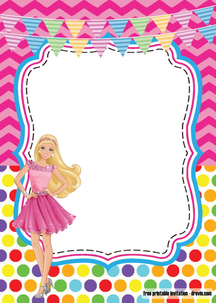 Girlie Birthday With Barbie Invitation Template FREE