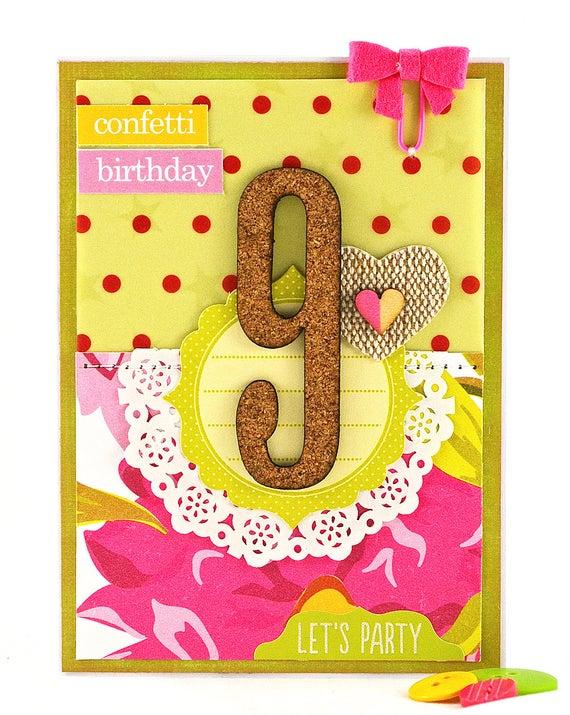 Girls Birthday Card 9th Birthday Card Happy 9th Birthday