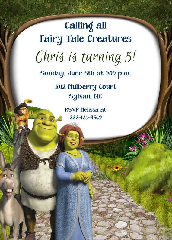 Girls Or Boys Shrek Printable Birthday Party Invitation Etsy