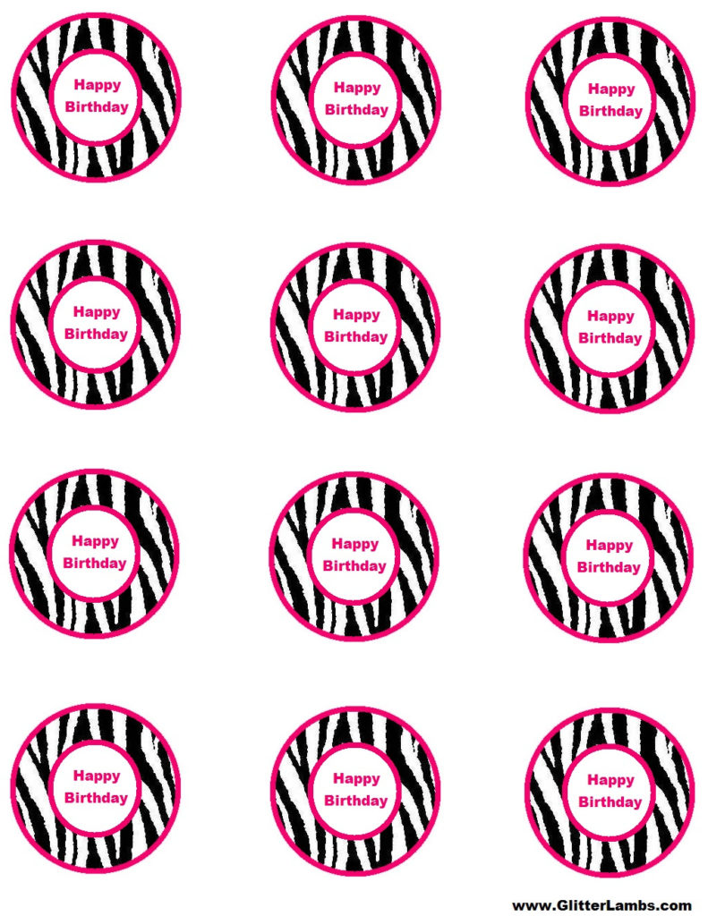 Glitter Lambs Pink Zebra Food Label Cards And Free