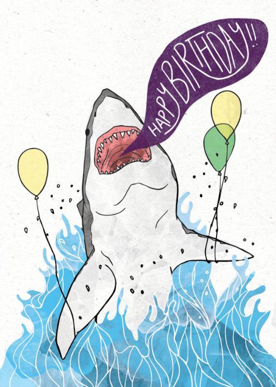 Great White Shark Birthday Card W CUSTOMIZABLE Message Option