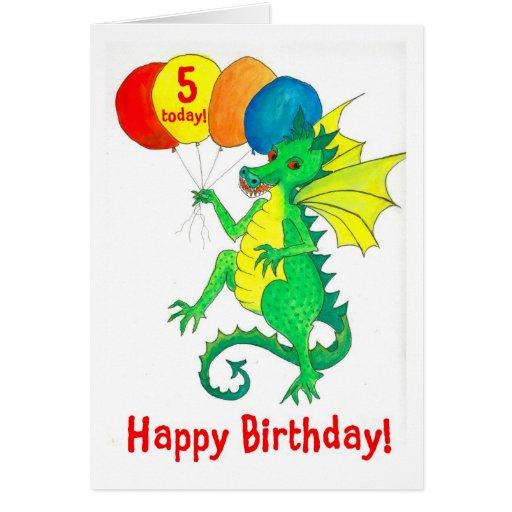 Green Dragon 5th Birthday Card Zazzle