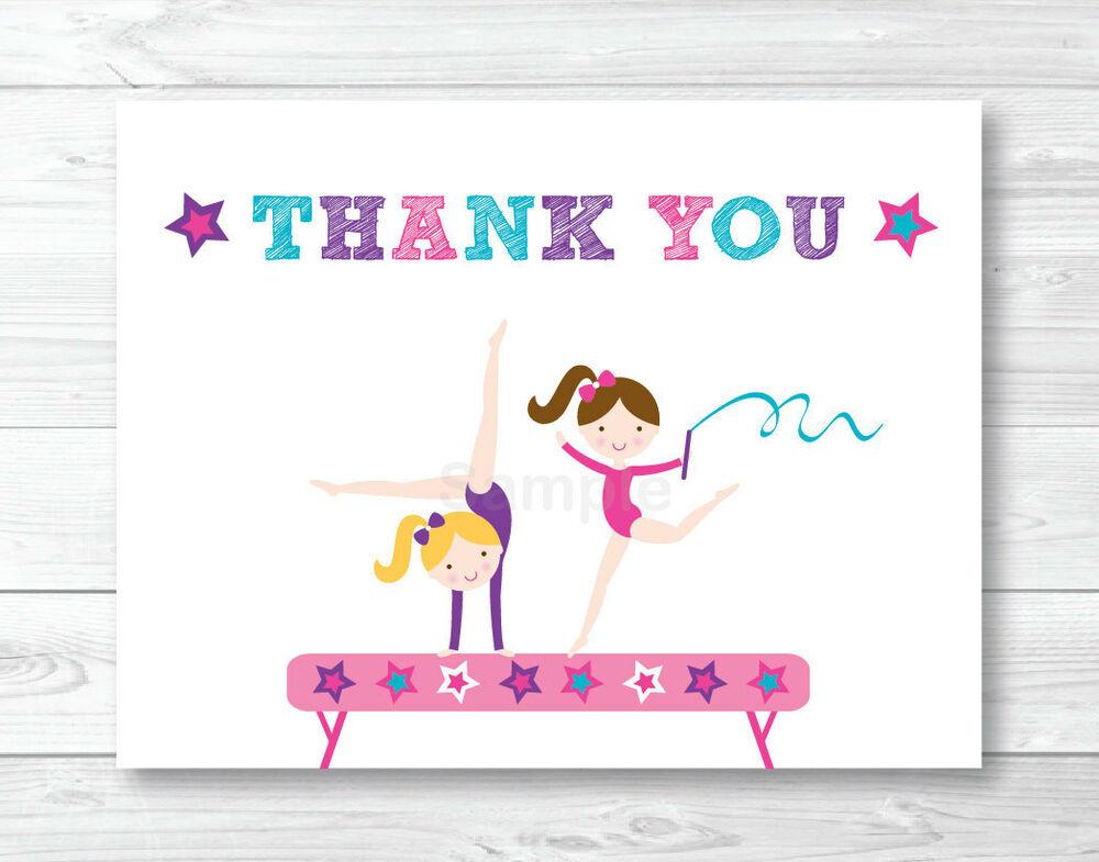 Gymnastics Birthday Party Thank You Card Printable EBay