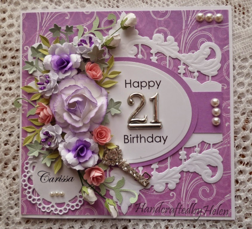 Handcrafted By Helen 21st Birthday Card