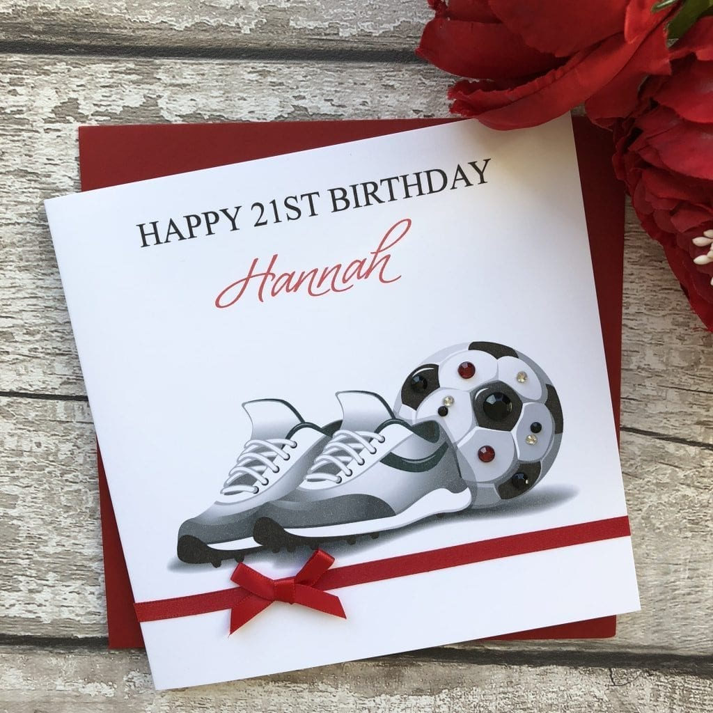 Handmade Birthday Card Football Handmade Cards Pink
