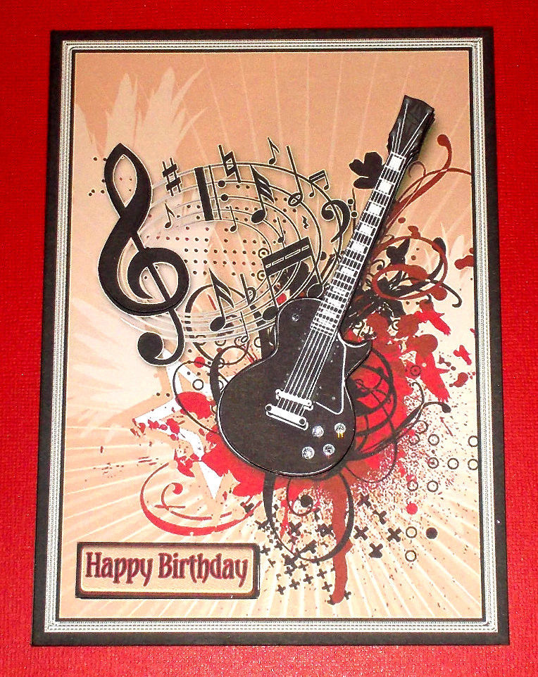 Handmade Greeting Card 3D All Occasion With A Guitar EBay