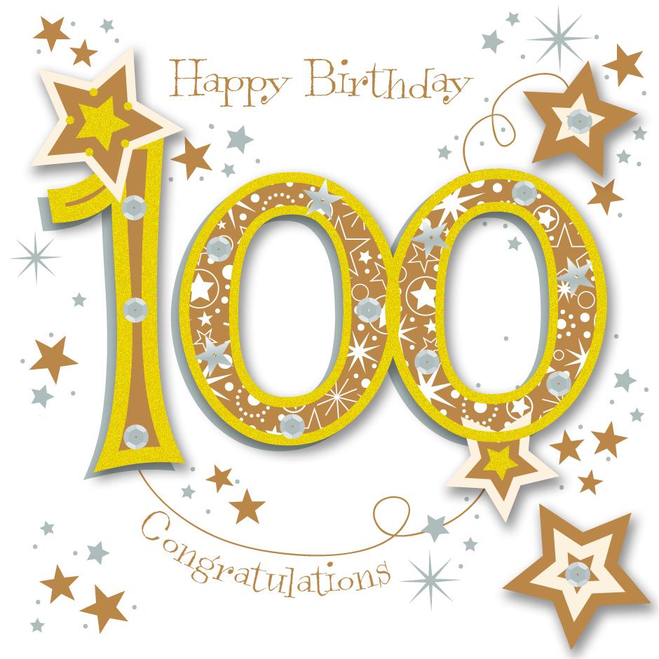Happy 100th Birthday Handmade Embellished Greeting Card By