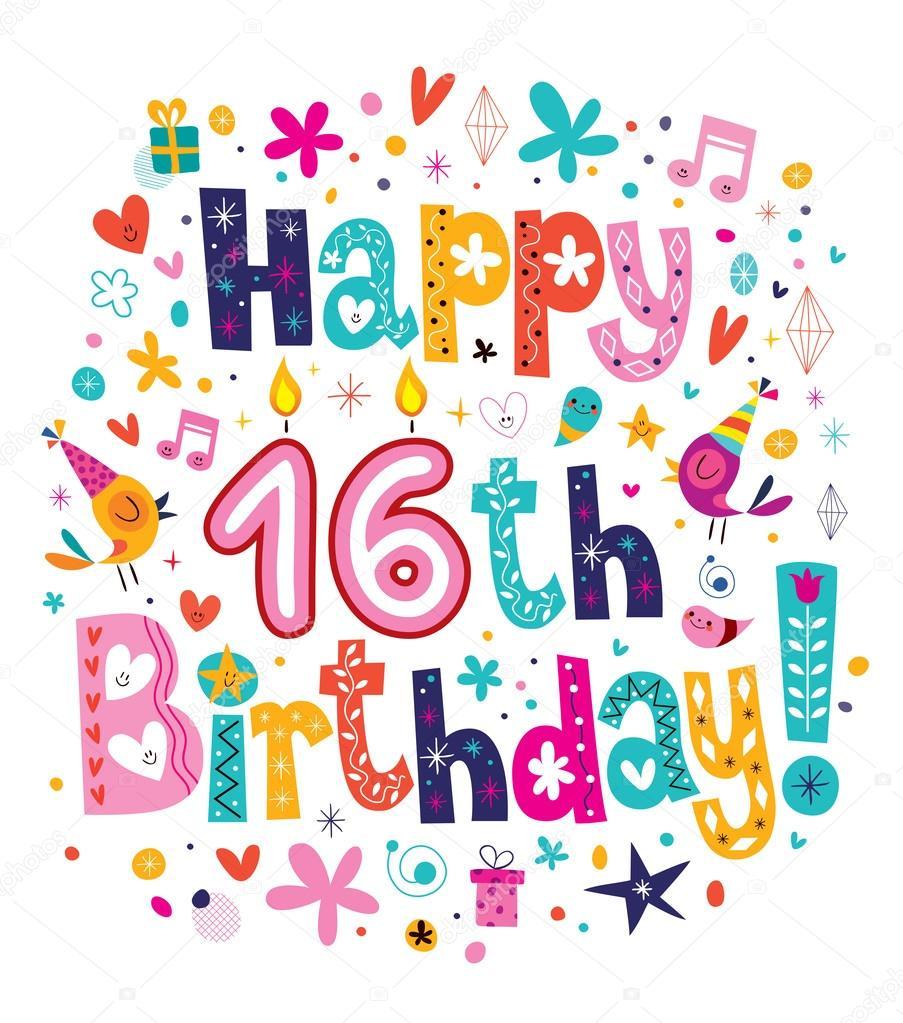 Happy 16th Birthday Card Stock Vector Aliasching 58894675