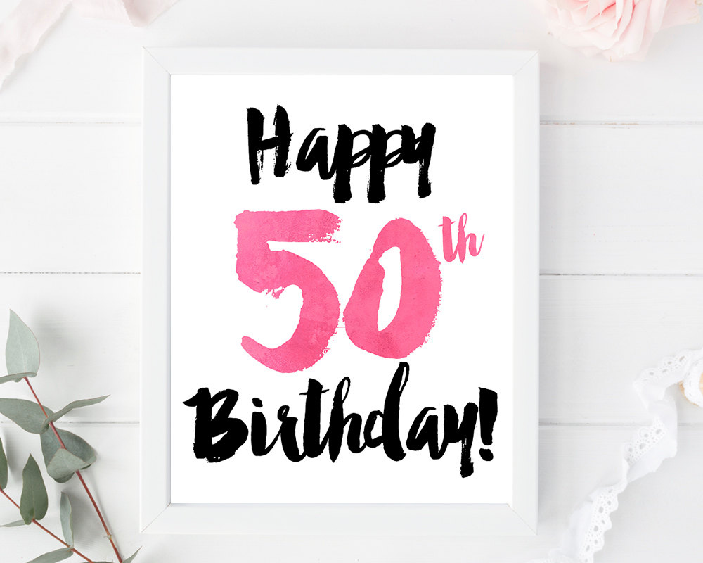 Happy 50th Birthday Print Card Printable Sign Poster