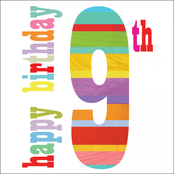 Happy 9th Birthday Birthday Card Karenza Paperie