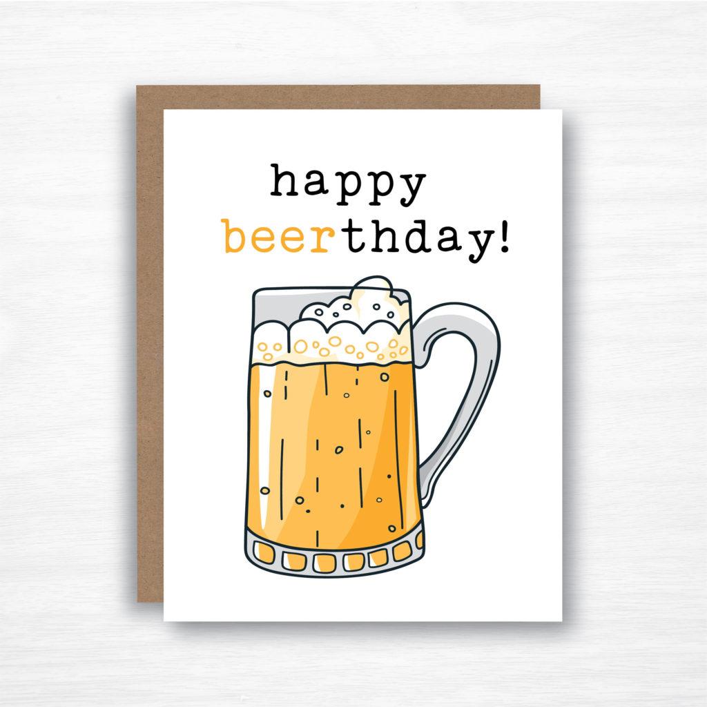 Happy Beerthday Beer Card Beer Birthday Card Birthday
