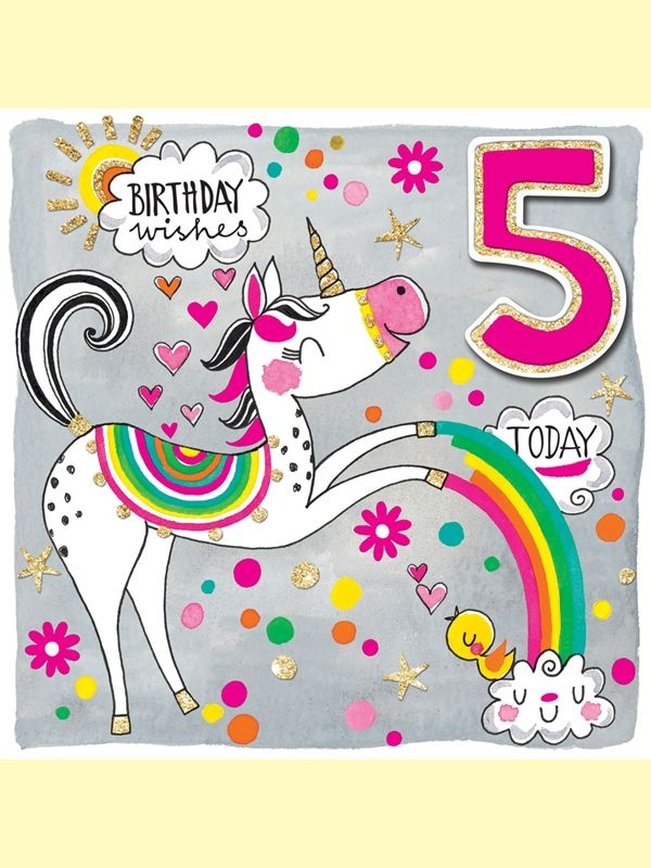 Happy Birthday 5 Years Old Today Unicorn Birthday Wishes