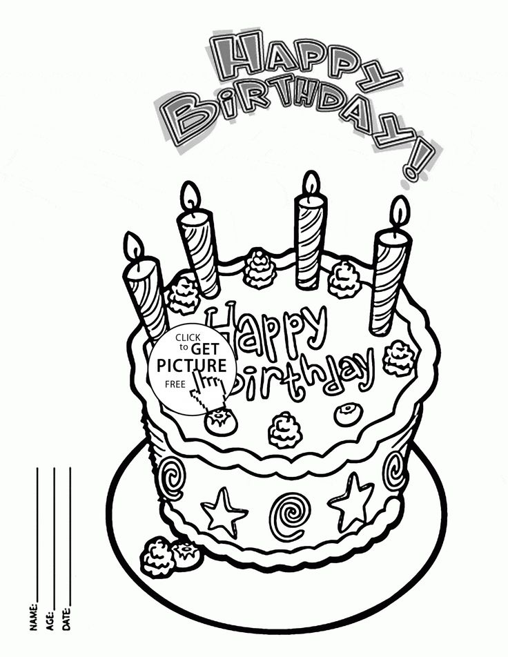 Happy Birthday Cake Card For Friends Coloring Page For
