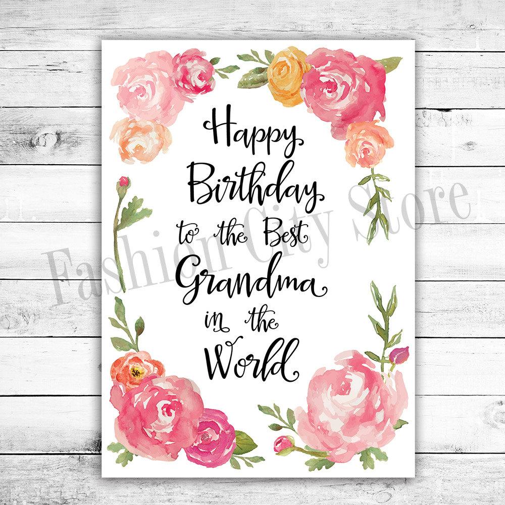 Happy Birthday Card For Grandma Watercolor By FashionCityStore