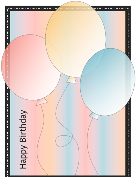 Happy Birthday Card with Balloons And Stripes Quarter fold