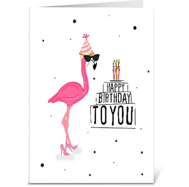 Happy Birthday Flamingo Digital Card Digital Greeting Card