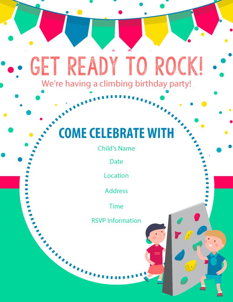 Happy Birthday Free Rock Climbing Birthday Party Invitations