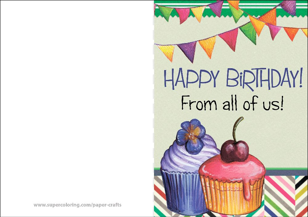 Happy Birthday From All Of Us Card Free Printable