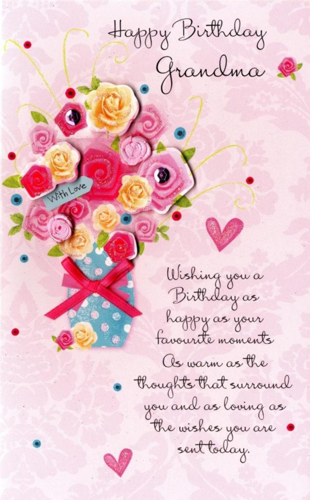 Happy Birthday Grandma Embellished Greeting Card Cards