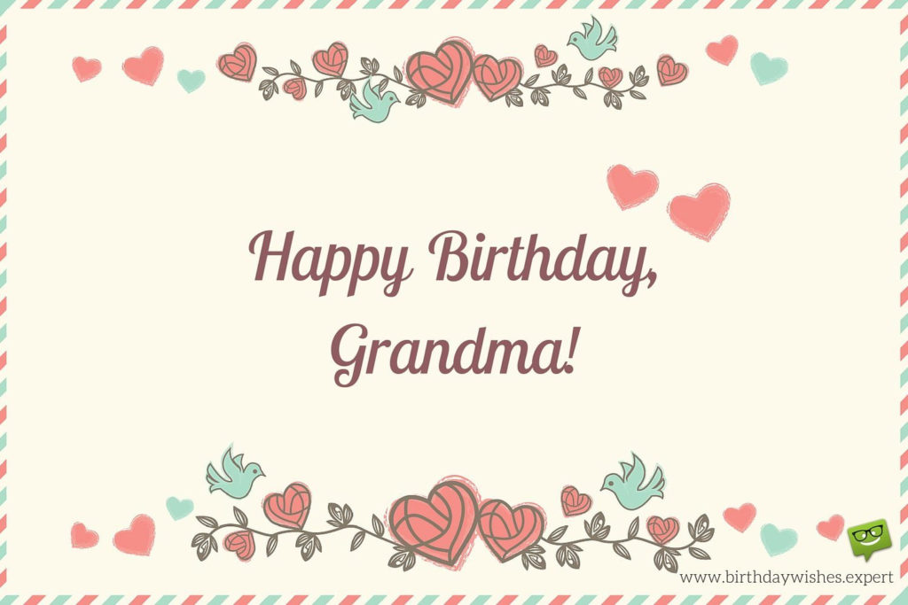 Happy Birthday Grandma On Image Of An Old Envelope With
