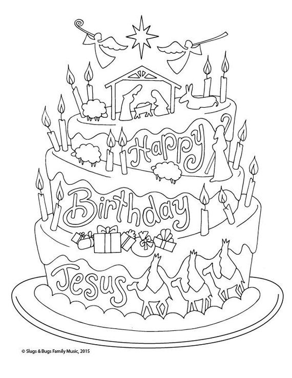 Happy Birthday Jesus Christmas Coloring Page Kids