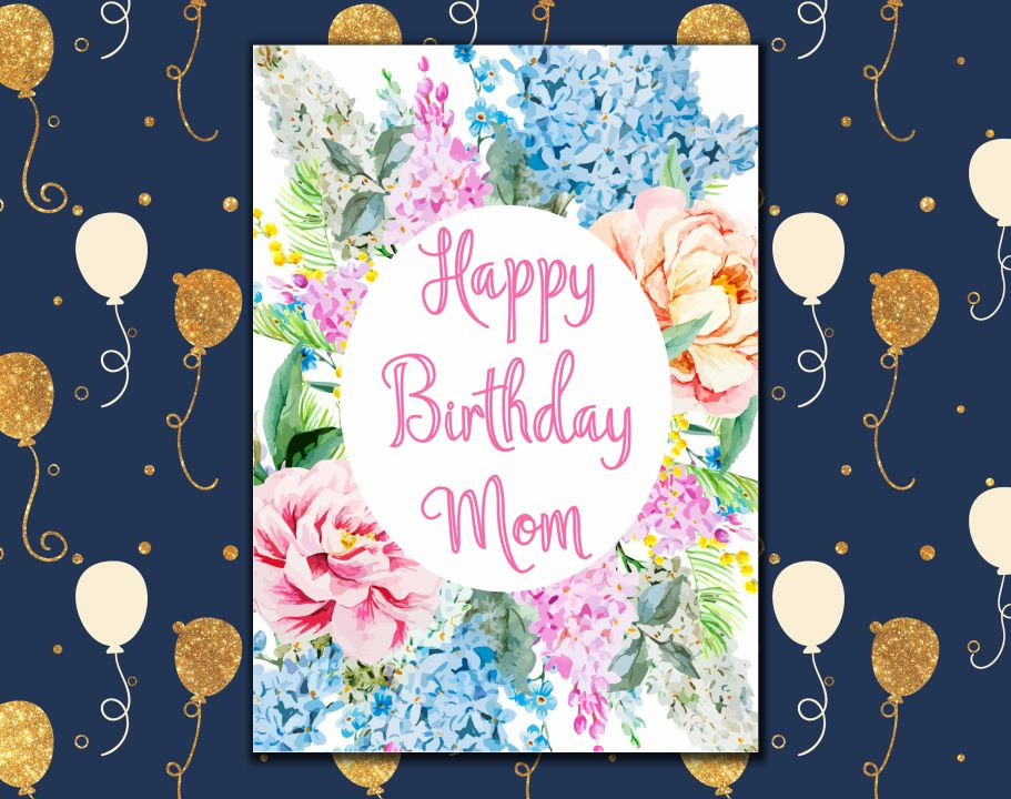 Happy Birthday Mom Card Printable Birthday By EllieArtPrint