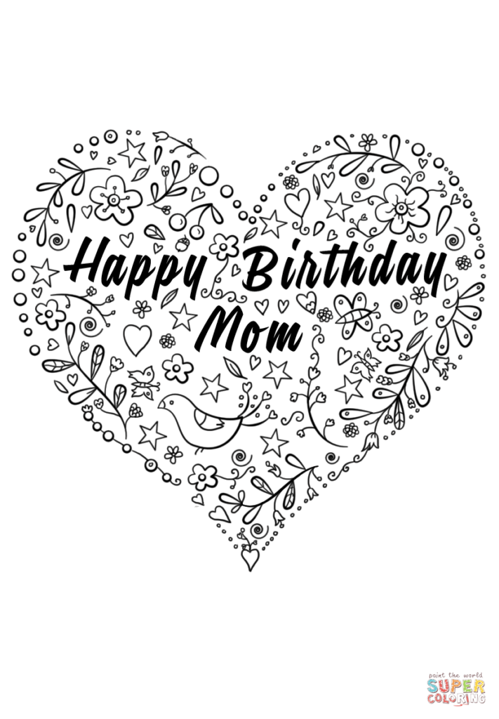 Happy Birthday Mom Coloring Page Free Printable Coloring
