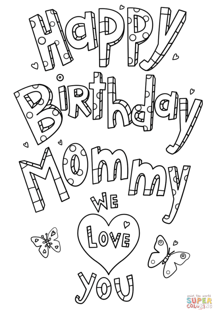 Happy Birthday Mommy Doodle Coloring Page Free Printable