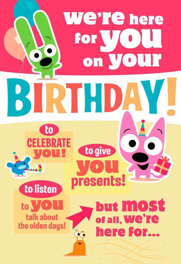 Hoops yoyo Cake Birthday Sound Card With Motion