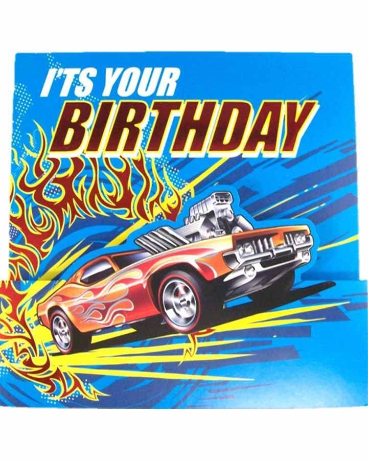 Hot Wheels Square Birthday Card Happy Birthday Hot Hot