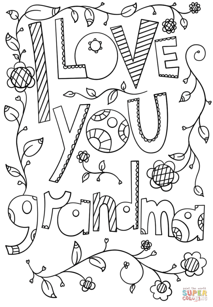 I Love You Grandma Doodle Coloring Page Free Printable