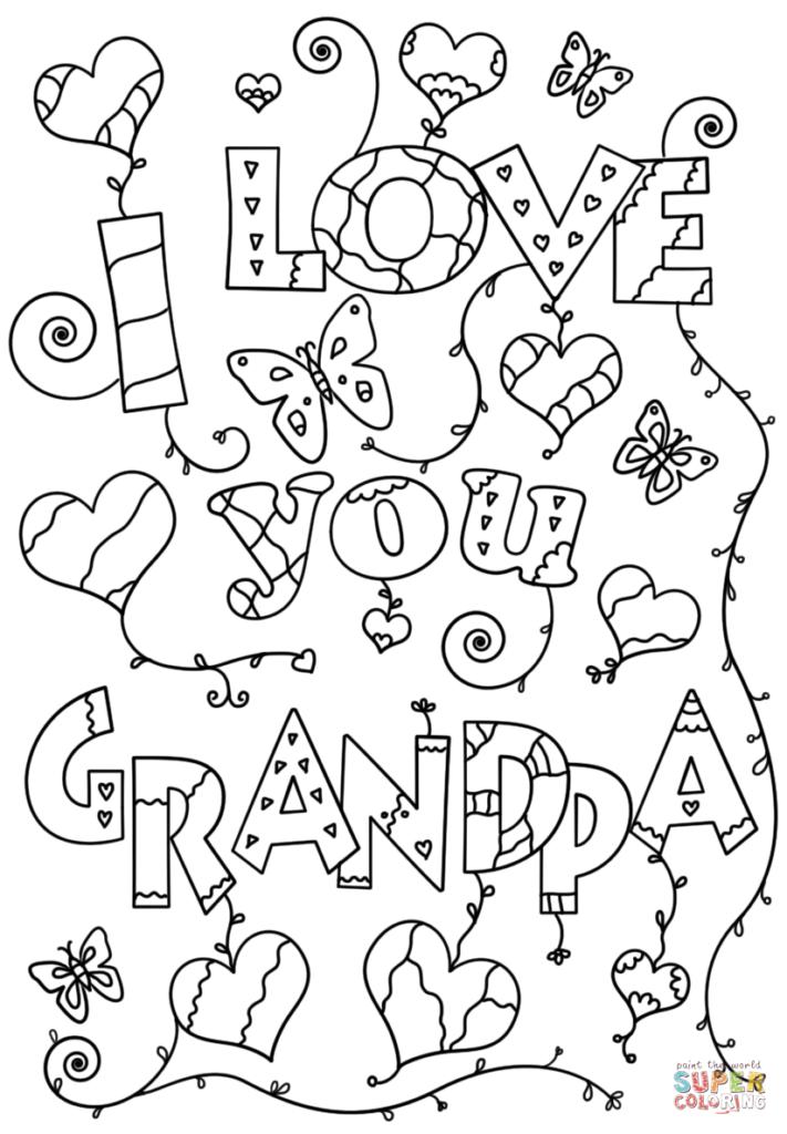 I Love You Grandpa Coloring Page Free Printable Coloring