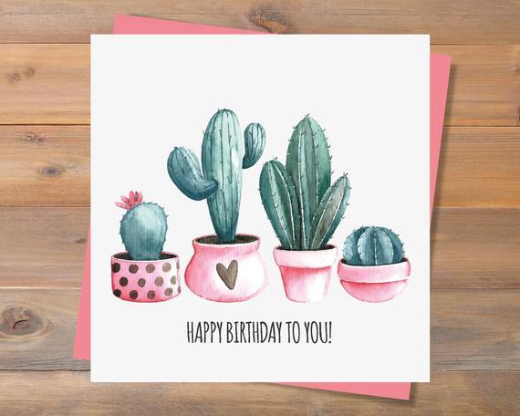INSTANT DOWNLOAD Printable Birthday Card Cactus Birthday