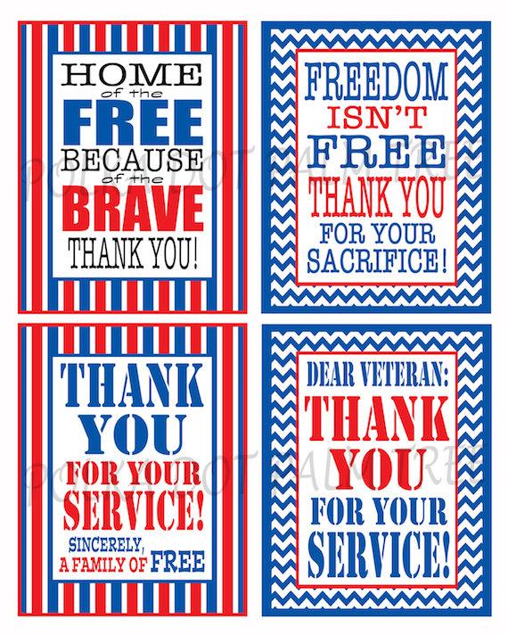INSTANT DOWNLOAD Printable Veteran Military Patriotic Thank