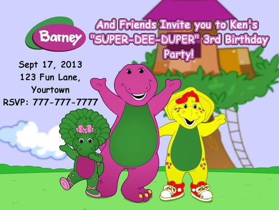 Items Similar To Barney And Friends Birthday Invitation Or