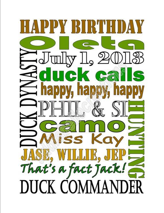 Items Similar To DIY Printable Duck Dynasty Birthday