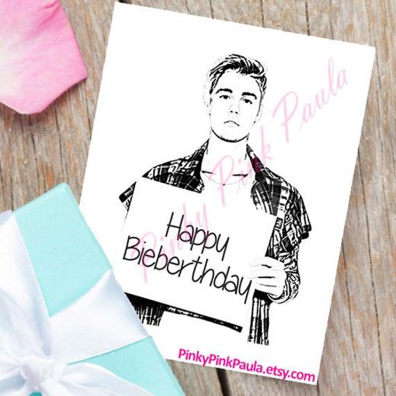 Items Similar To Justin Bieber Card Funny Birthday Card